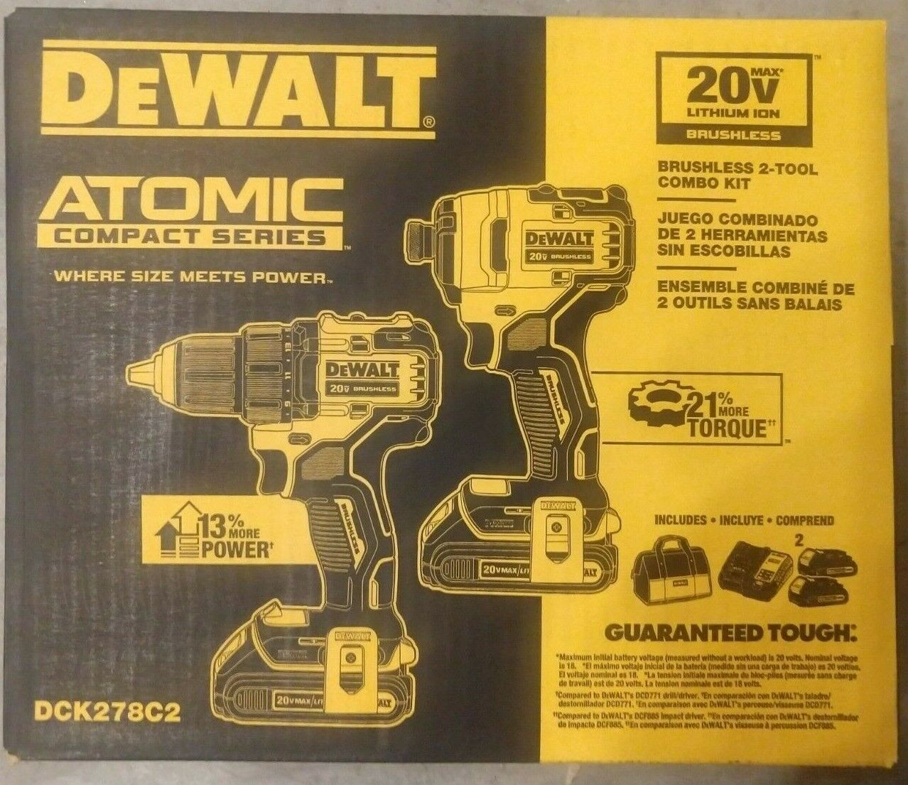DEWALT DCK278C2 ATOMIC 20V MAX 2-Tool Brushless Combo Kit Ne