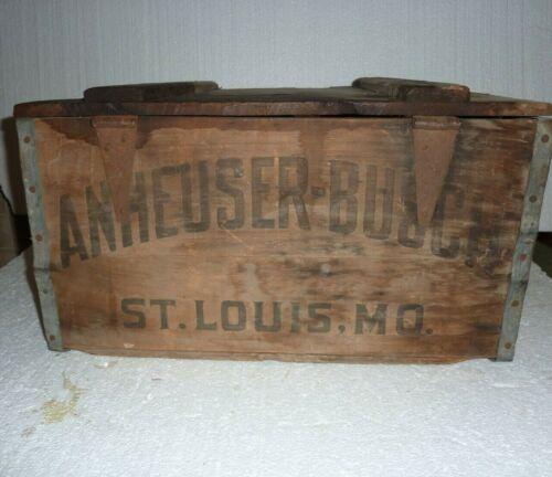 Antique Anheuser Busch Beer Wooden Crate Primitive Rustic