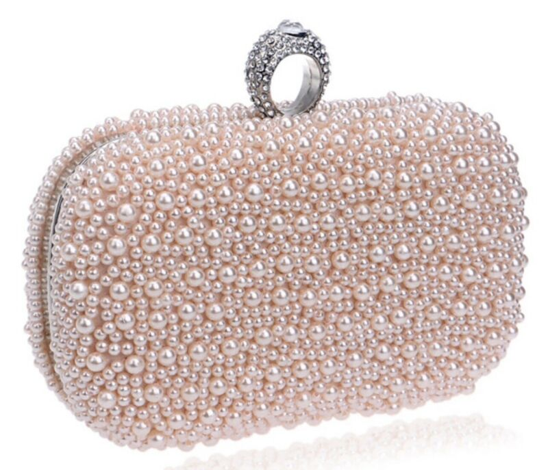 New Women's Evening Clutch Bag Gorgeous Pearl beading Bridal Wedding Party,Ivory