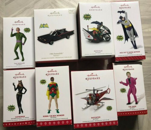 HALLMARK SET BATMAN CLASSIC 1966 TV SERIES SET OF 9 MINT ORNAMENTS!