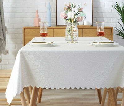 New White Vinyl Tablecloth Reusable PVC Plastic Oil-Proof Waterproof Tablecloth