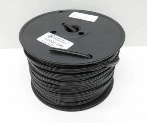 (250ft) Spectrum SPT-1 Black 18/2 Lamp Cord Copper Wire Roll #18 AWG Gauge