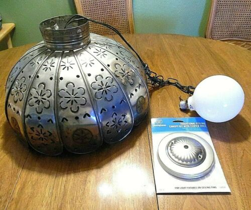 """AWESOME HAND CRAFTED MEXICAN PUNCHED TIN HANGING CEILING LIGHT 16"""" DIAMETER"""