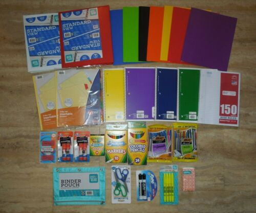 Huge School Supplies Lot (Folders Notebooks Binders Markers Pencils Paper) NEW