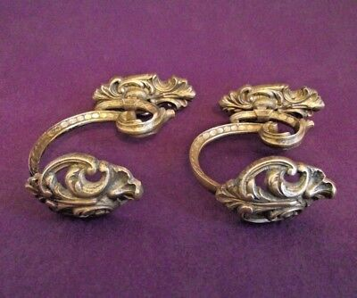 Lovely Pair Antique 19th Century French Rococo Bronze Ornate Tie Back Hooks 1013