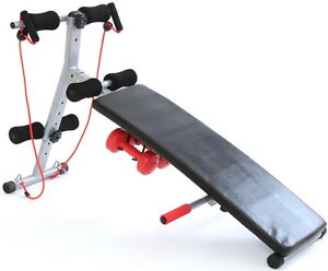 Gym Master SIT UP BENCH AB Abdominal Exercise Equipment w/Power Ropes&Dumbbells