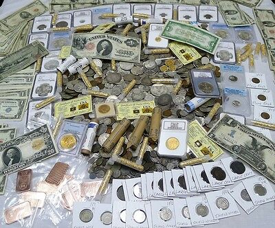 EXTRAORDINARY SUPER SIZE ESTATE LOT! GOLD, PCGS, SILVER, CURRENCY! 45 Items!
