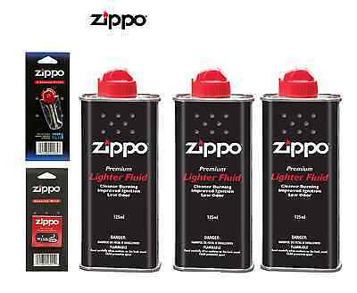 3 Genuine Original Zippo Premium  Lighter Fuel Fluid Refill 1 Wick & 6 Flints
