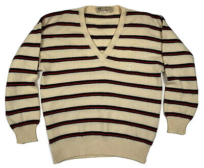 Vtg GUCCI Beige Striped 100% Wool Knit V-Neck Sweater sz 42 Street Wear Normcore
