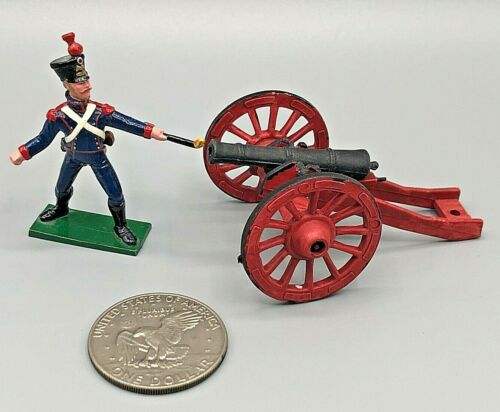 (2) Vintage Lead Toy Soldiers of the World Hand Painted Napoleonic Cannon EXCEL