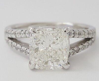 2.59 ct Platinum Cushion Cut Diamond Split Shank Engagement Ring GIA F / VVS1 8