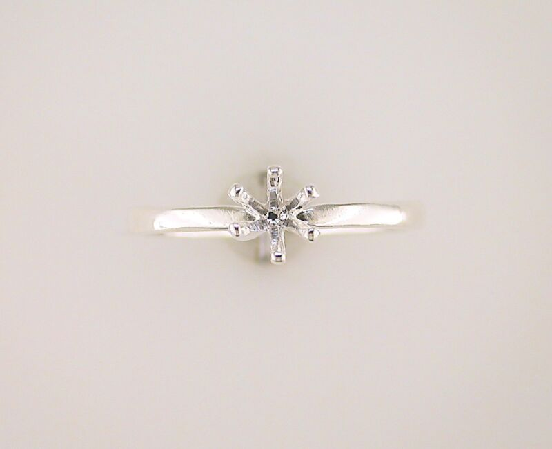 Round Six Prong Deep Vee Solitaire Ring Setting Sterling Silver