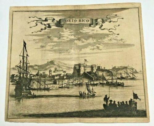 PUERTO RICO 1673 Arnold MONTANUS RARE LARGE ANTIQUE ENGRAVED VIEW 17TH CENTURY