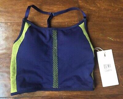 NWT Fabletics DEMI LOVATO Courtney Midi Bra Top Size XXS / XS Blue Green