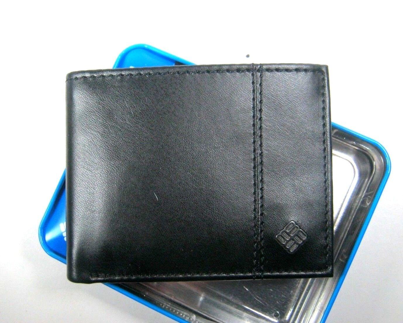 mens bifold leather rfid security wallet black