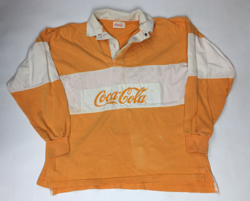 Vintage Coca Cola Rugby Pull Over Long Sleeve 80's 90's Shirt Orange Creamsicle