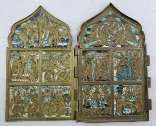 Antique 18th Century Russian Enamel on Bronze Religious Triptych Icon - As Is