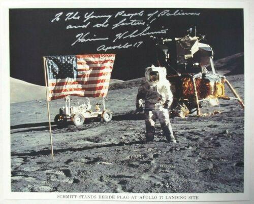 Apollo 17 Crew Harrison Schmitt Signed Vintage NASA Lithograph 11th Moonwalker