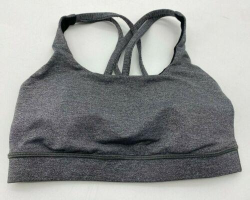 Lululemon Womens 4 Sports Bra Heather Gray Strappy Racerback Athletic Wear