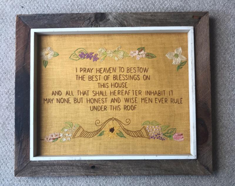 VTG Sampler Motto Prayer Handmade Needlepoint Barn Board Frame Rustic Country