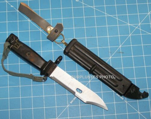 East German Bayonet Knife & Scabbard Leather Frog Matching Type 3 w Shelby P38