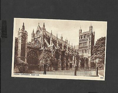 Vintage Sepia Postcard Exeter Cathedral  North East  Devon  unposted