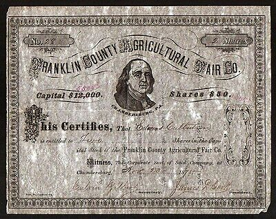 1875 Franklin County Agricultural Fair - Genuine Original Stock Certificate RARE