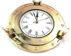 Nautical Antique Marine Brass Ship Porthole Battery Quartz Wall Clock 6 Decor