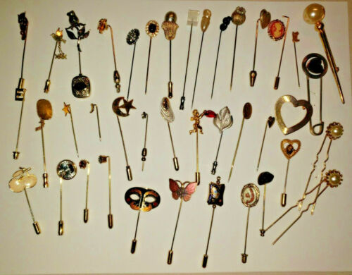 Vtg Victorian Deco Mod Hat Pins Stick Pins Stones Silver MOP Lot of 34 and More
