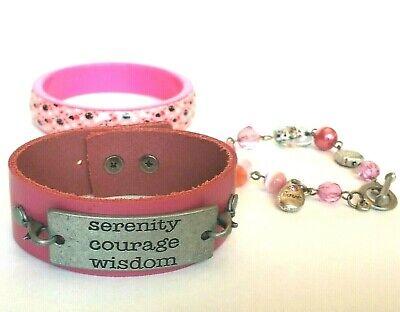 Pink Bracelet lot Leather Cuff Bangle & Toggle Bracelet