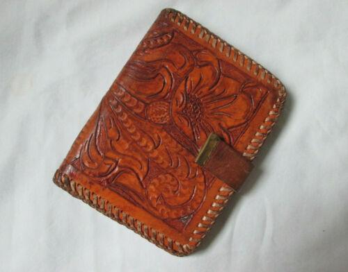 VINTAGE Brown Hand Tooled Western Leather Wallet Flowers Floral