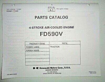 Kawasaki Dealers Fd590v Engine Parts Catalog Manual Book Original Air Cooled