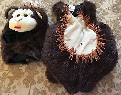 0-6 month JUST PRETEND HALLOWEEN COSTUME PLUSH MONKEY 2 PC FURRY CUTE MOM @@