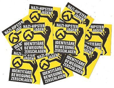 25x Nazihipster verjagen Aufkleber Mix Antifa Punk Gegen Nazis Identitäre GNWP