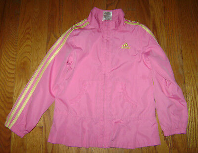 adidas GIRLS ZIPPER JACKET LIGHTWEIGHT RAIN size 6 PINK YELLOW CUTE