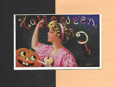 LADY'S SUPERSTITION, Smiling JOL On Colorful A/S WALL Vintage HALLOWEEN Postcard