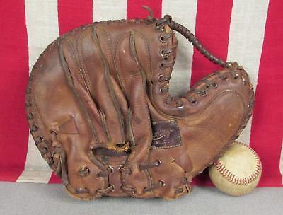Vintage 1940er Jahre Rawlings Leder Baseball Handschuh Fänger Mickey