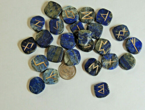Lapis Lazuli Engraved Rune Stone Set, w/ Symbols Chart n Cloth Bag (7498-1)