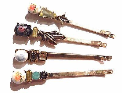4 VICTORIAN INSPIRED CAMEO BOBBY PIN SET rhinestone bronze gold hair clip lot H1
