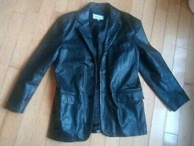 BLACK VALI LEATHER VINTAGE 90S BLAZER LARGE