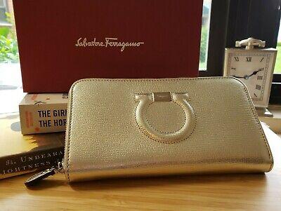 NWT Slvatore Ferragamo Women GANCINI logo Gold/Silver Leather Zip around WALLET