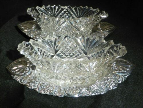 Antique 1899 Solid Silver Cut Glass Salts Hallmark London James Deakin