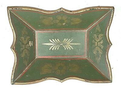 VINTAGE PAINTED AND STENCILED BREAD TRAY WITH SCALLOPED EDGE