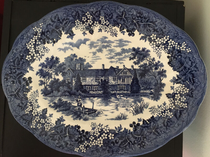 ROMANTIC ENGLAND Vintage J & G Meakin OVAL SERVING PLATTER Blue Stoneware