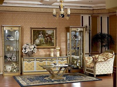 Pared de Salón Cómoda Verdadero Madera Barroco Rococo Vitrina Cristal Nuevo