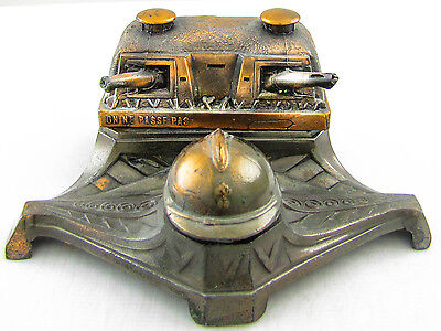 RARE WWII French Maginot Line Metal Building Inkwell