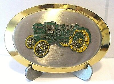 John Deere Waterloo Boy N Two-Cylinder Kerosene Tractor Belt Buckle Gold Silver