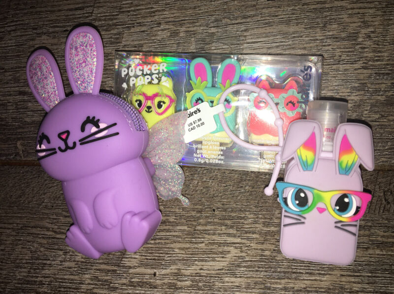 Claire's Bunny Coin Purse Lotion Lipgloss Keychain Backpack Clip Set Easter Lot