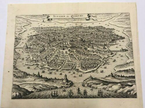 HANGCHOW XUNTIEN CHINA 1638 MATTHAEUS MERIAN LARGE ANTIQUE VIEW 17TH CENTURY