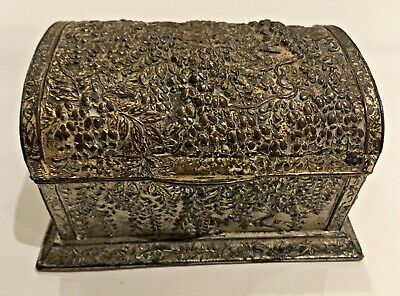 Antique Oriental  Silver Metal Chest with raised trailing flora design